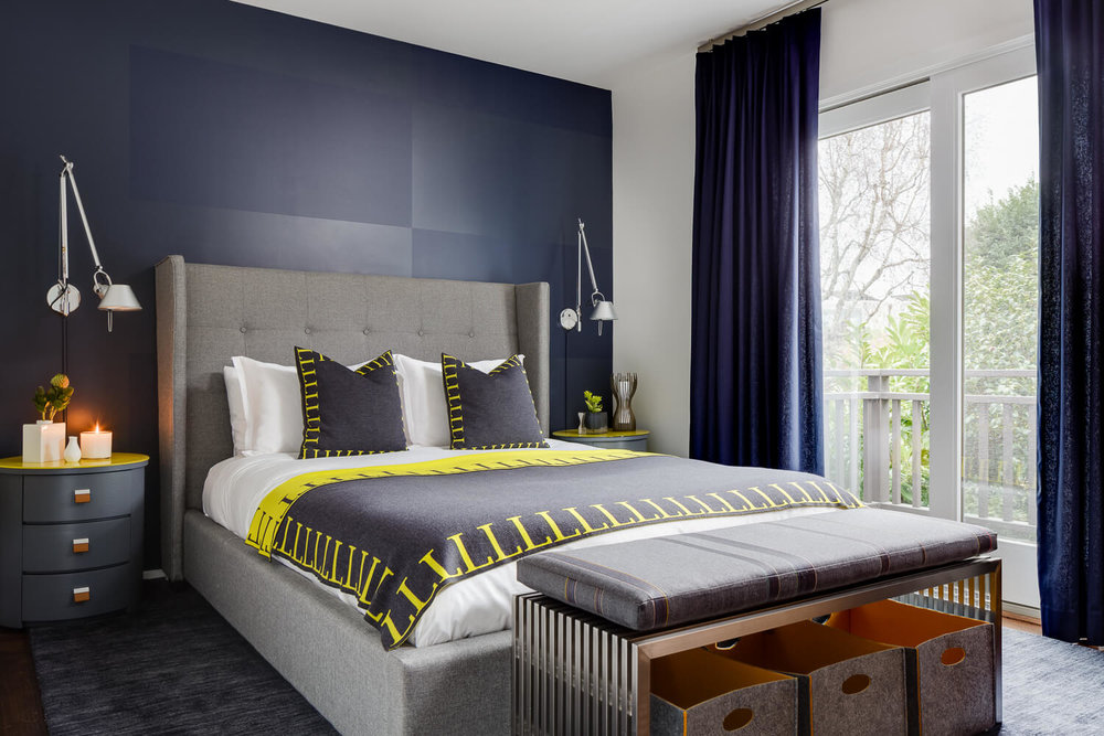 Bedroom Navy Blue Modern Jennifer Gustafson SF Bay Designer
