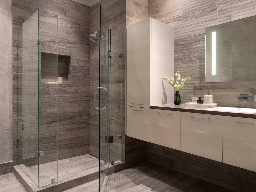 Bathroom Gray White Modern Jennifer Gustafson SF Bay Designer