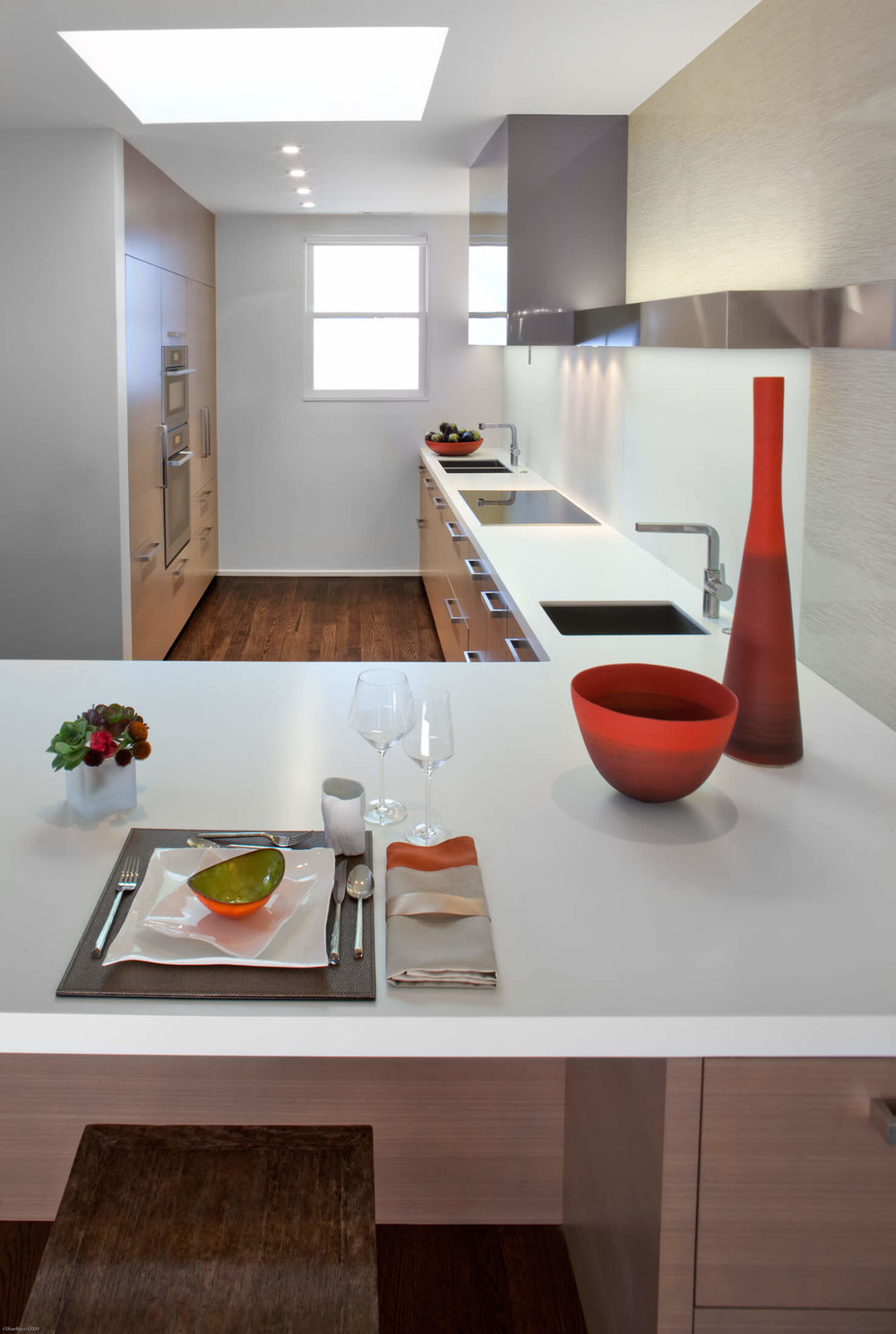 Kitchen Red White Modern Jennifer Gustafson SF Bay Designer