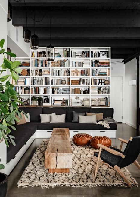 Living Room Black White Midcentury Modern Morrocan