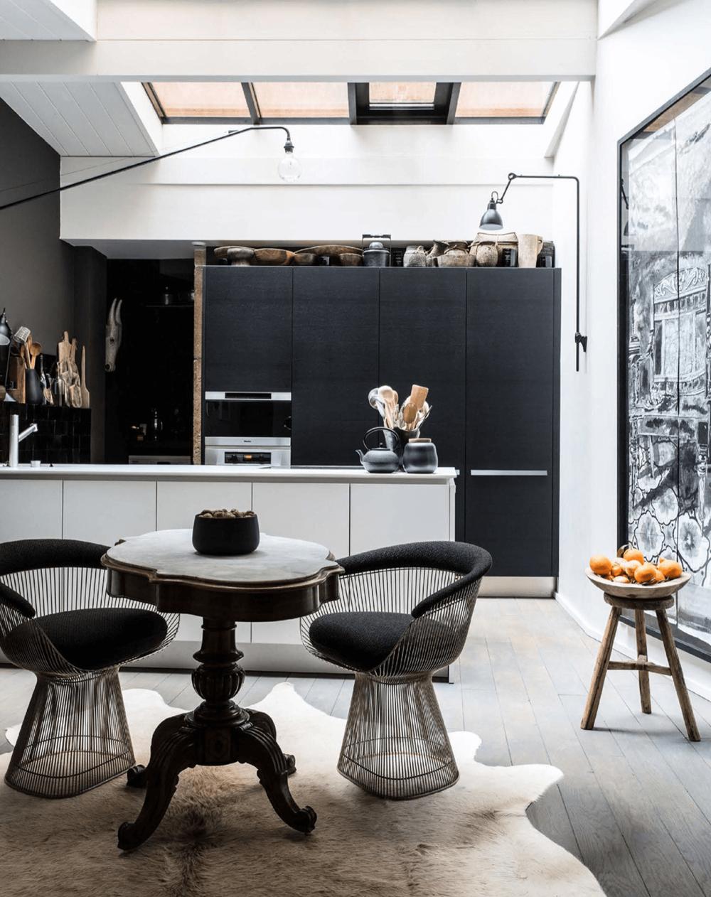 Kitchen Black White Rustic Elle Decor UK
