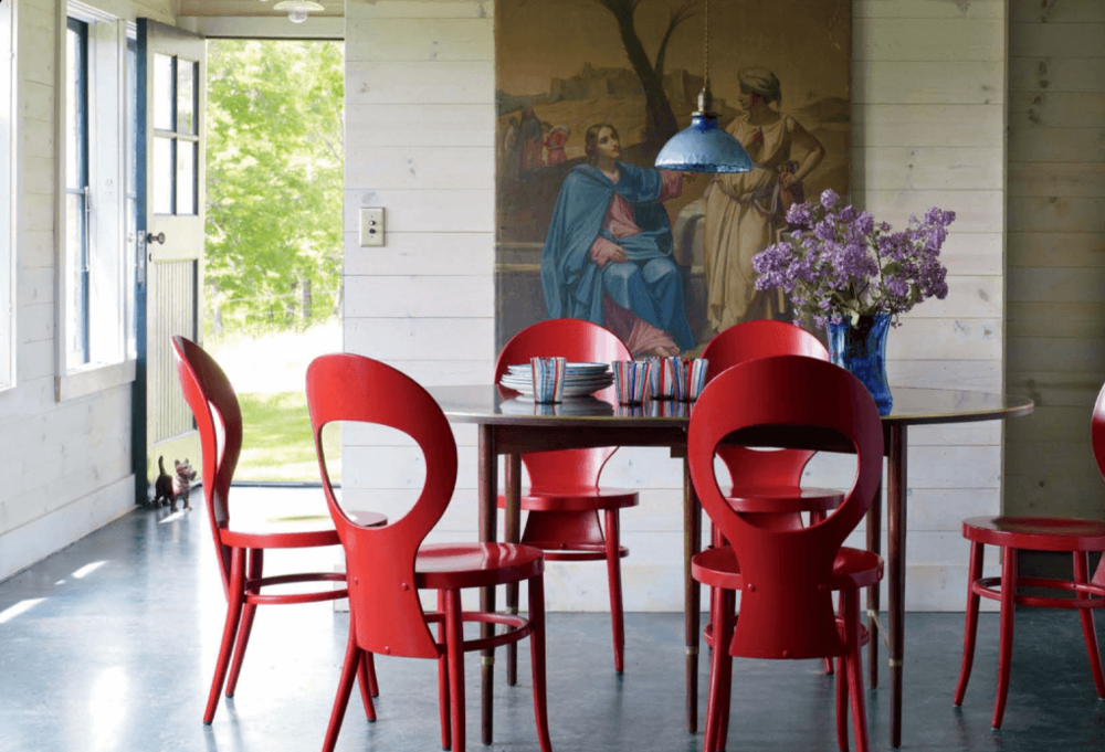 Dining Room White w/Red Chairs - Art