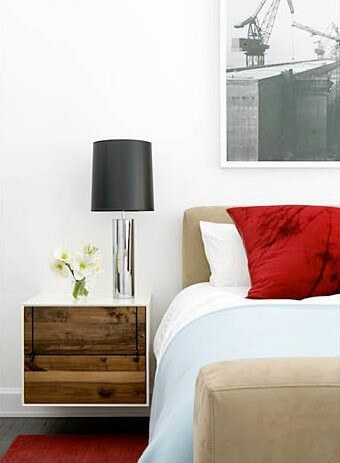 Bedroom White Neutral Red Brad Ford