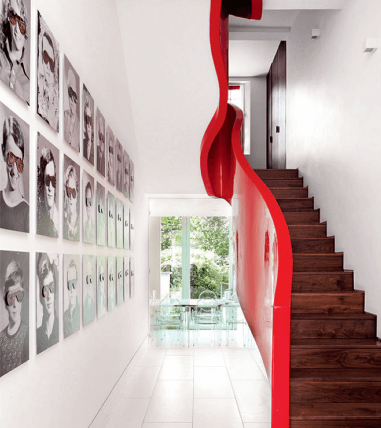 White Hallway Red Staircase Sculptural Balustrade