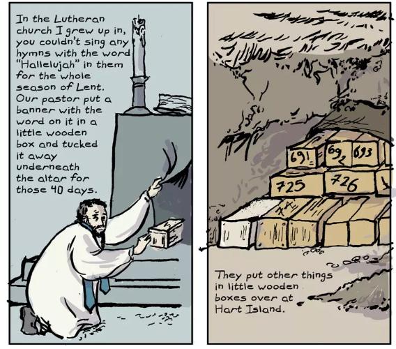 """hart island hallelujah"" —  read the full comic at The Nib"