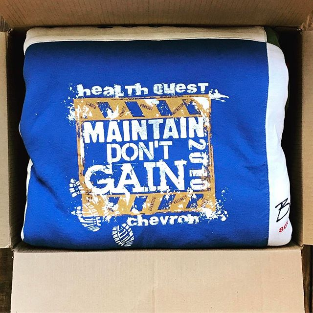 Packing and shipping #tshirtquilts with #love since 1997. #healthquest #maintainthegain #blue #corregatedcardboard #tshirt #quilt #handmade #nyc #chevron #constructionboots #unioncarpenter #quiltingfun #springcleaning