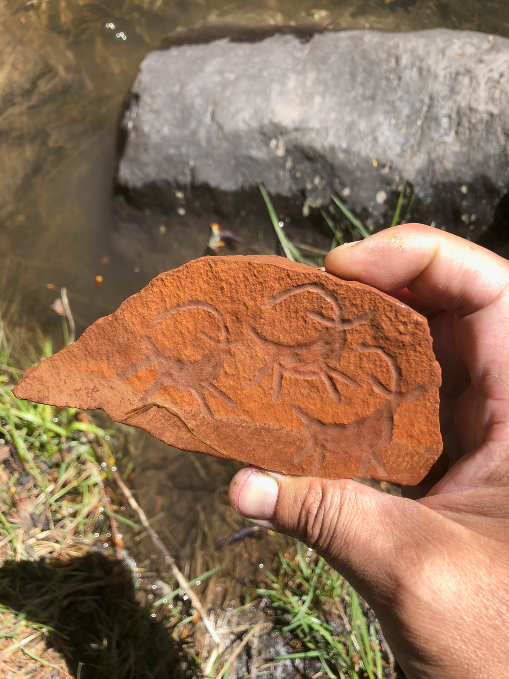 The carving gets lost in the rock when it's wet.