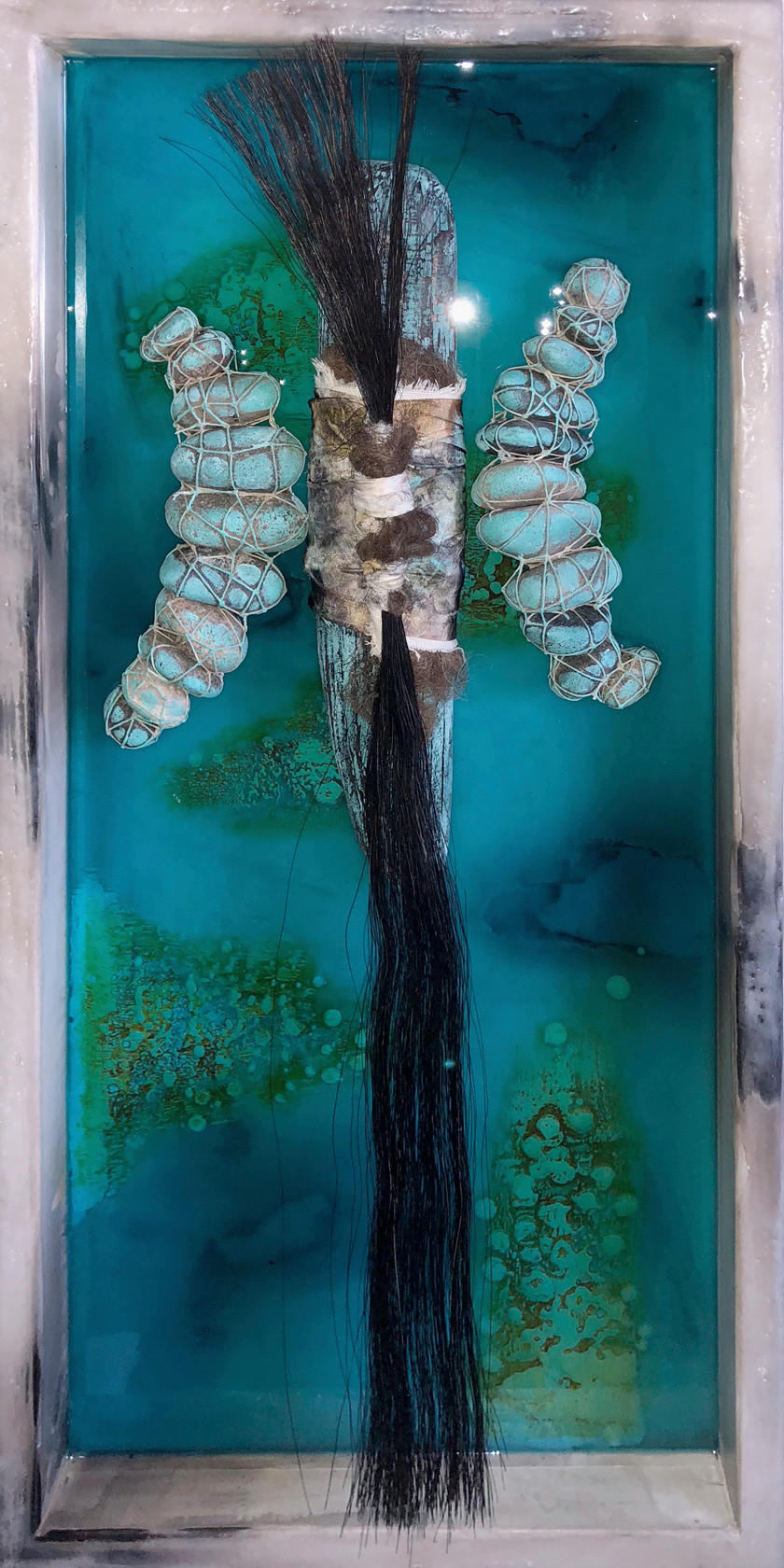 Looking In I Discover Peace - 12 x 24 x 3 1/4 - Encaustic and mixed media on inset wood panel. The finished piece after half a year in the making. Each piece has it's on journey and each one grows at it's own pace.