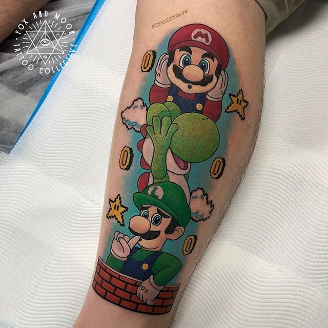 """Mario themed """"hear no evil, see no evil, speak no evil"""" tattoo made by Elaina. If you want to make her happy, book in for a video game tattoo :) -------------------------------------------- Artist: @elaina.conroy.ink Using: @solaristattoocare -------------------------------------------- -Bookings/Enquiries- Phone: 0411 570 360 Email: info@foxandmoontattoo.com.au Visit us: 727 Deception Bay Road, Rothwell -------------------------------------------- www.foxandmoontattoo.com.au -------------------------------------------- #brisbanetattoo #brisbaneart #foxandmoontattoo #elainaconroyink #tattooart #dailytattoo #blackwork #neotradtattoo #neotraditional #nerdytattoosdaily #animetattoo #mangatattoo #videogameart #gamerink #epicgamerink #geekyneedle #gameart #videogametatts #vgta2 #vegan #anime #mariotattoo #mario"""