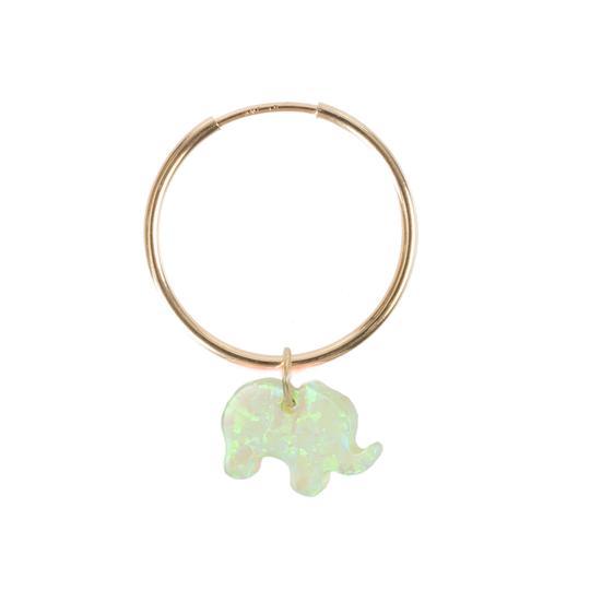 The Opal Elephant Earring