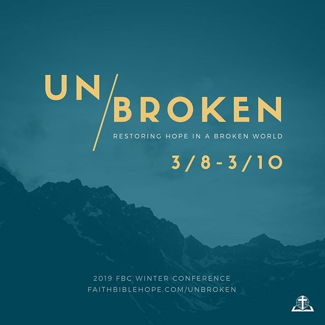 16 days to go! This year's conference theme is #unbroken and features 4 workshops on purpose, boundaries, parenting, and marriage. Register at https://www.faithbiblehope.com/unbroken #fbcwintercon