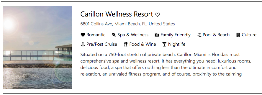 Allow yourself to be the center of a relaxed journey at Carillon Wellness Resort, Miami Beach, Florida