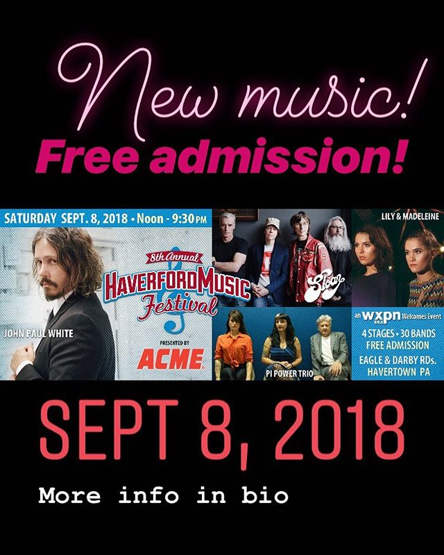 We're excited to play the 8th annual Haverford Music Festival this September in Havertown, PA ✨ with @johnboymusic @sloanmusic @pipowertrio and others 🌸 it'll be a beautiful, fun day for the whole family #haverfordmusicfestival