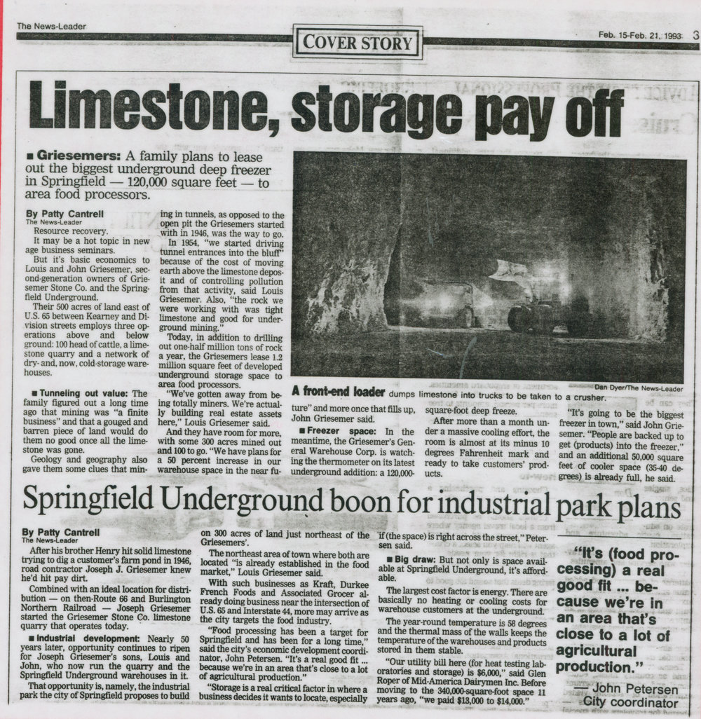 Mining and warehouse construction continued for the next five and a half decades, removing over 31 million tons of limestone.