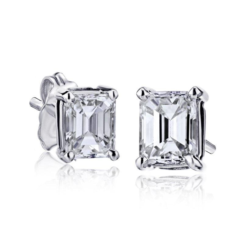 1 Carat Emerald Cut Diamond Earrings in