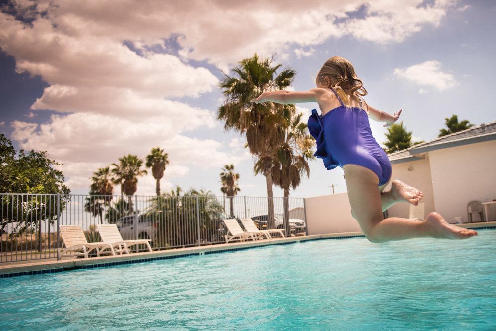 Pool Amenities - Heated 50-foot poolLounge chairsJacuzziKiddy poolWaterballRiver viewWashroom facilities