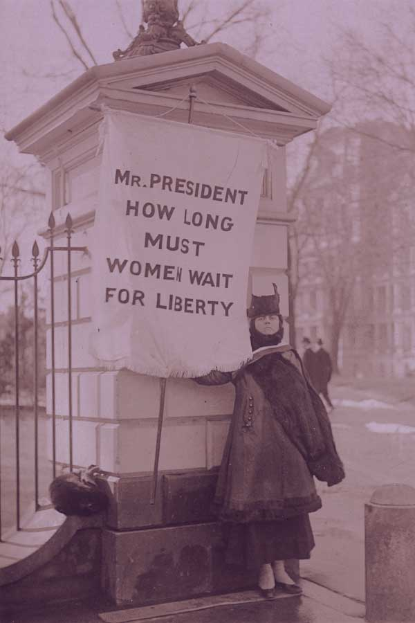 """Silent sentinel"" Alison Turnbull Hopkins at the White House on New Jersey Day. United States Washington D.C, 1917. Photograph. https://www.loc.gov/item/mnwp000222/."