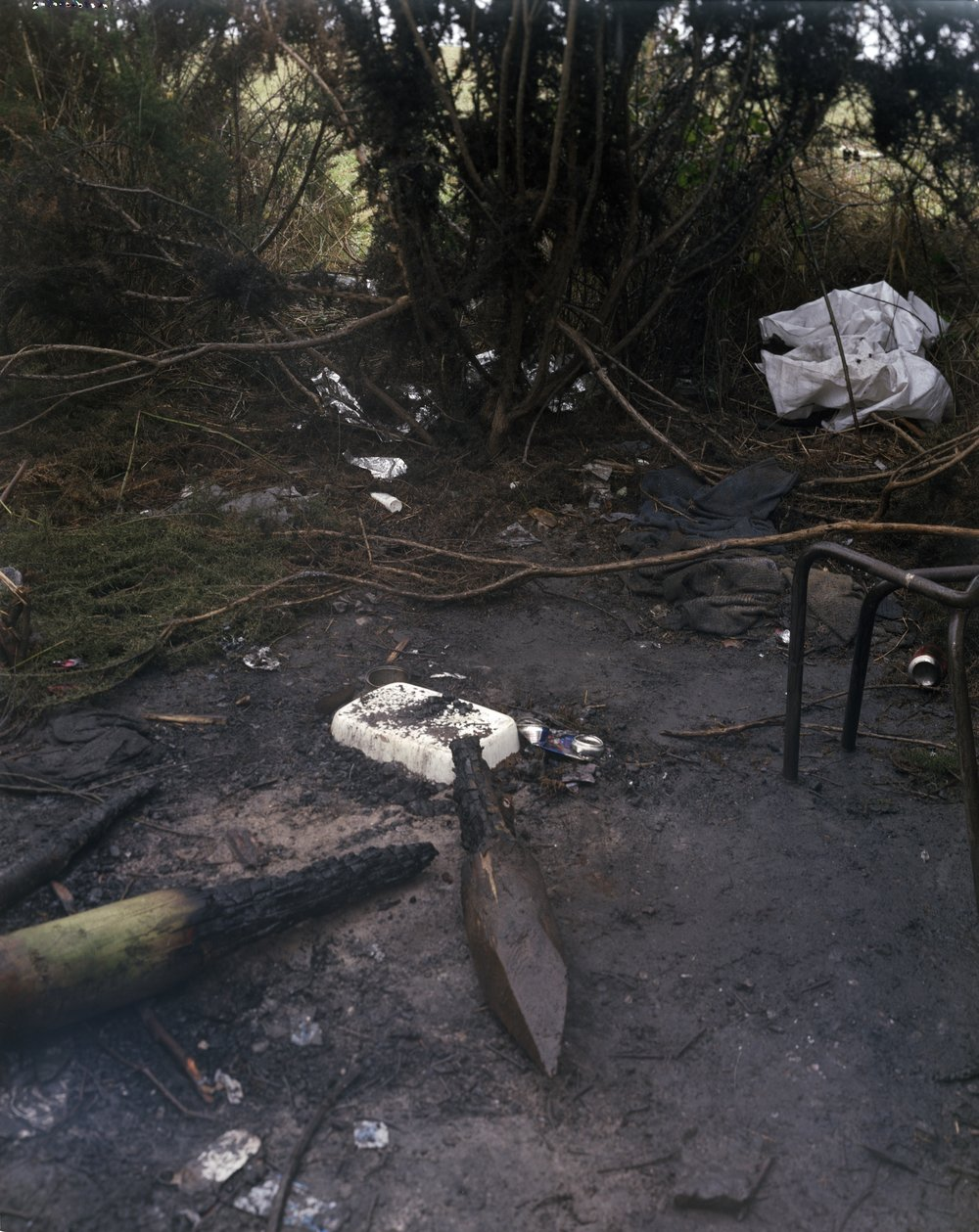 Campsite burnt by the police