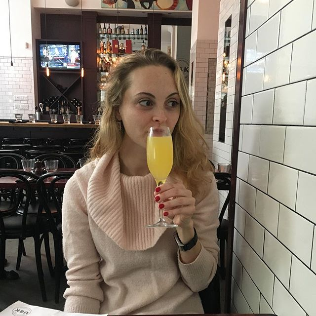 A mimosa on Sunday realizing all you've got to do on Monday.