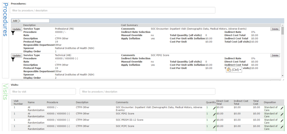 The new CTMS budgeting tool interface