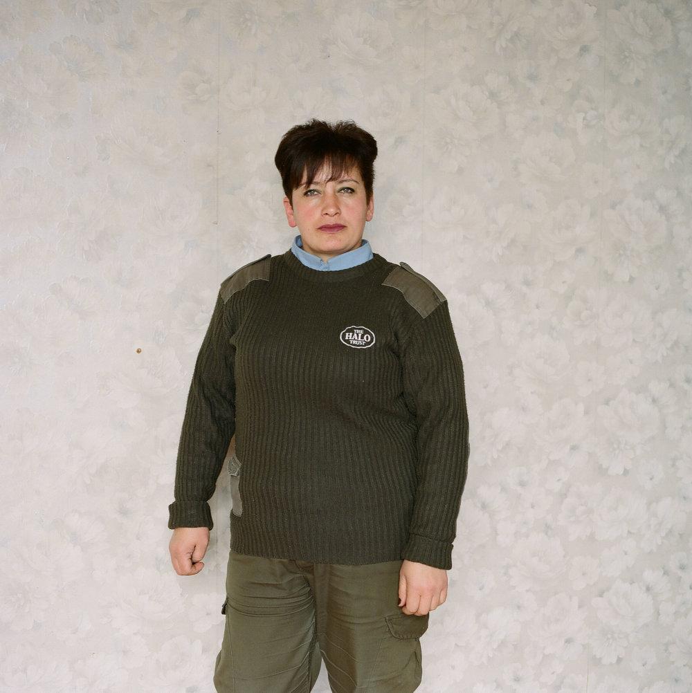 Inga, one of The HALO Trust's de-miners, at the HALO base near the Karegah minefield in Berdzor (Lachin), Nagorno-Karabakh, 2018.