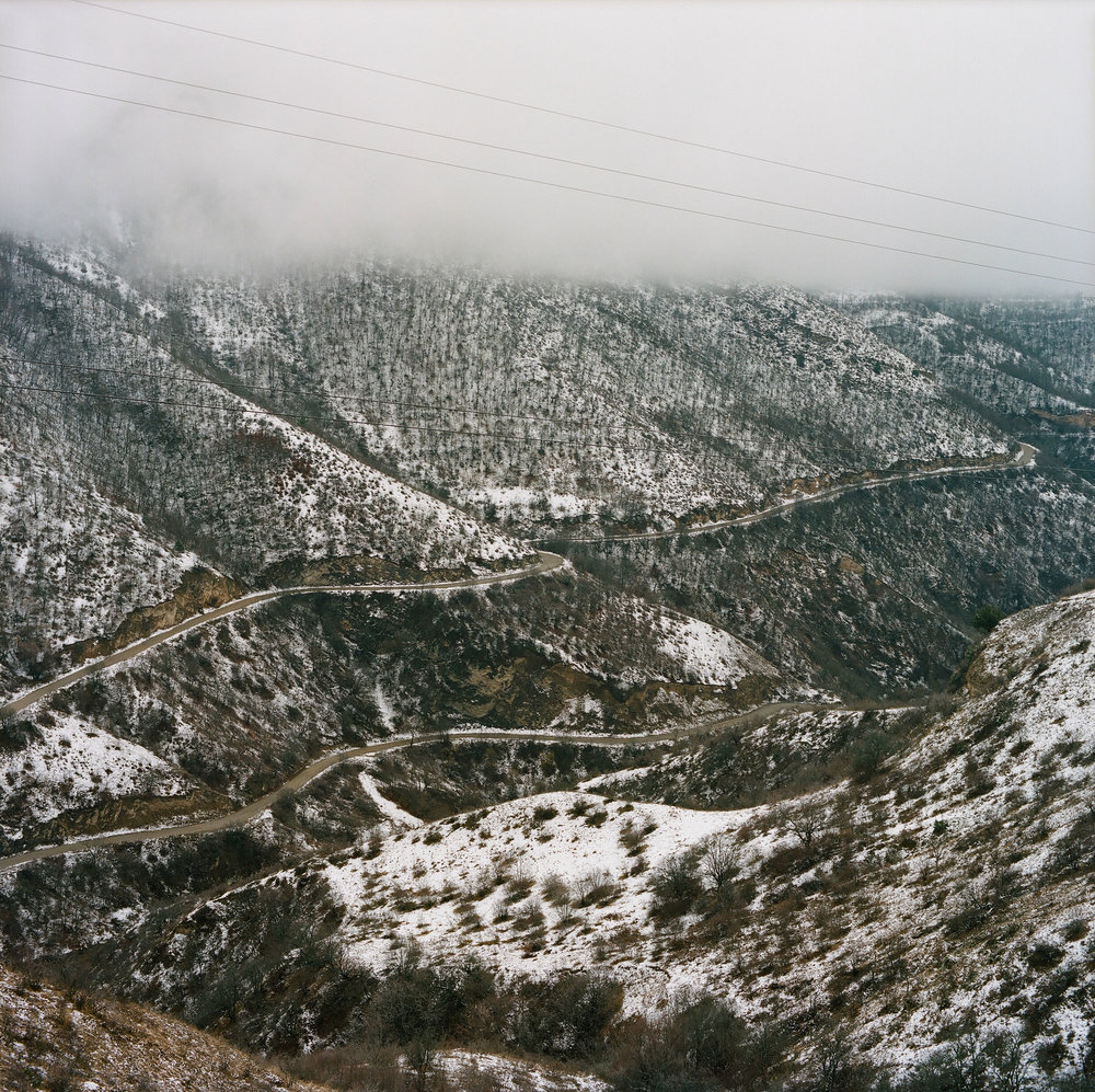 Anti-aircraft cables stretch across a valley in the Lachin region of Nagorno-Karabakh. Despite the ceasefire of 1994, tensions between Armenia and Azerbaijan remain high over the contested region.