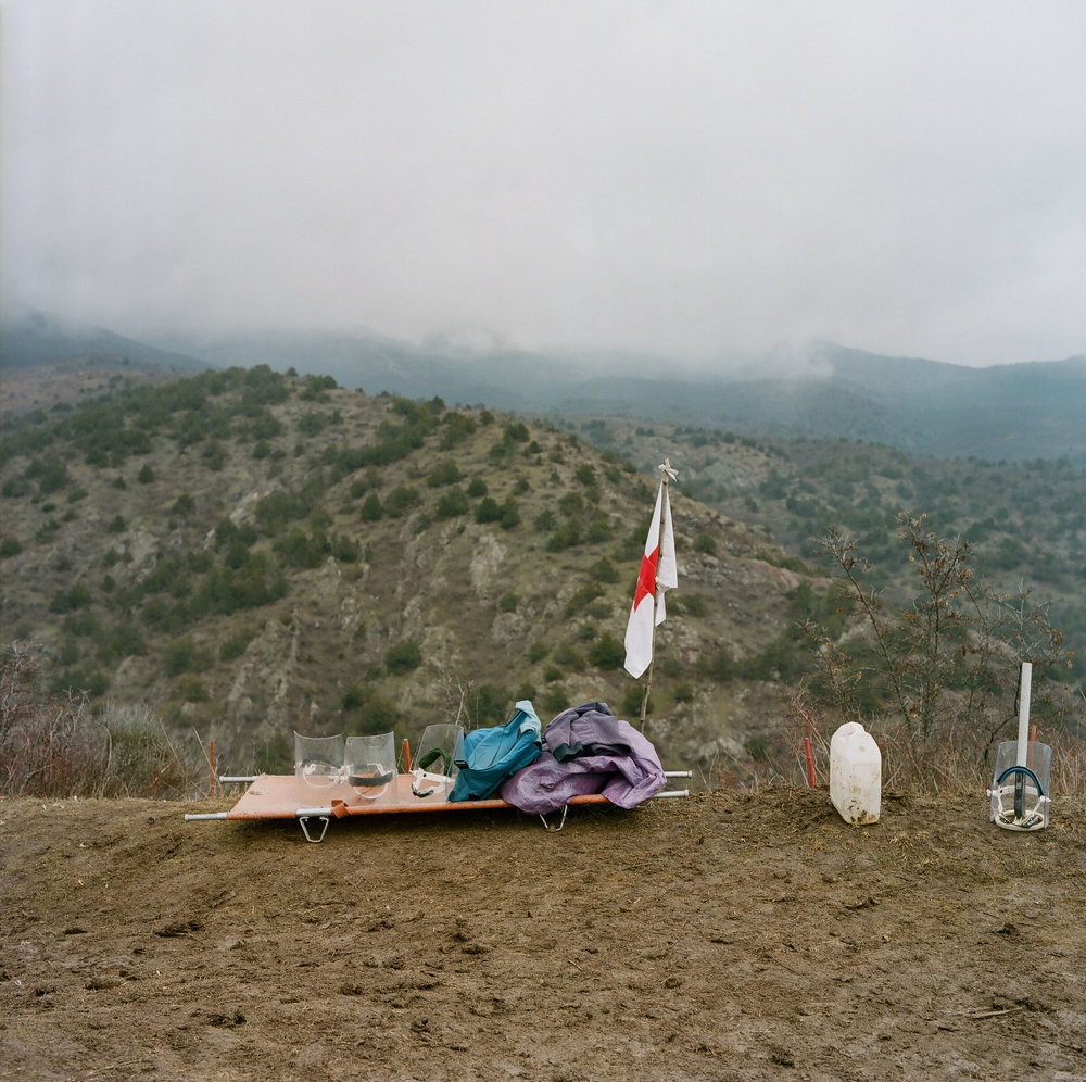 Emergency first aid gear at the Aghavnatun minefield. Each de-mining team typically contains two paramedics.