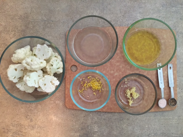 Lemon Garlic Roasted Cauliflower Ingredients.