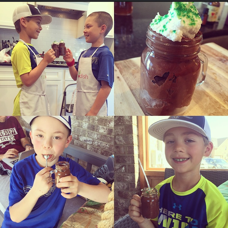 Kids eating Diary Free Whipped Chocolate Whipped Mousse