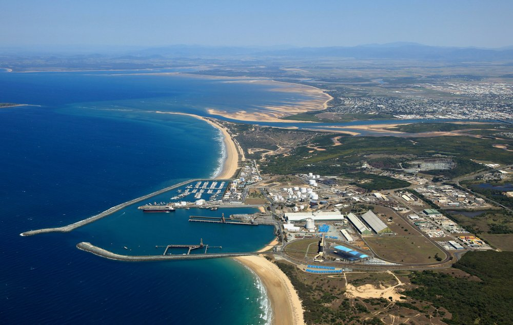 Aerial view of the Mackay Marina and beaches