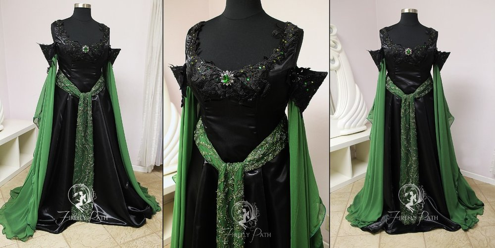 Green & Black Elven Gown