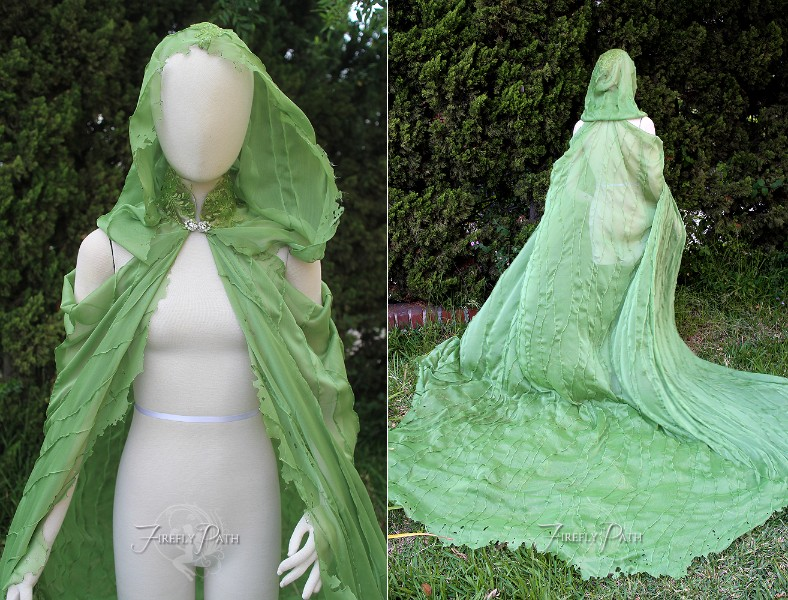 Grass Green X-long Elven Cape