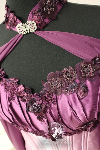 Petal Pink and Plum Elven Bridal Gown