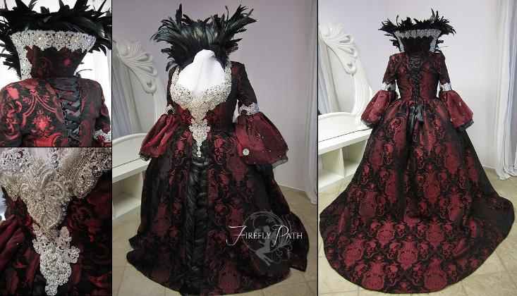 Regina Mills Black Red Brocade Gown