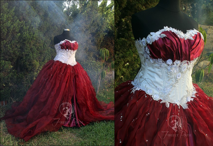 Snow White and Red Wine Bridal Gown