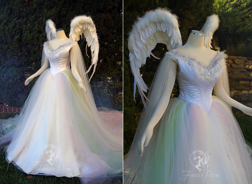 Angelic Rainbow Bridal Gown and Wings