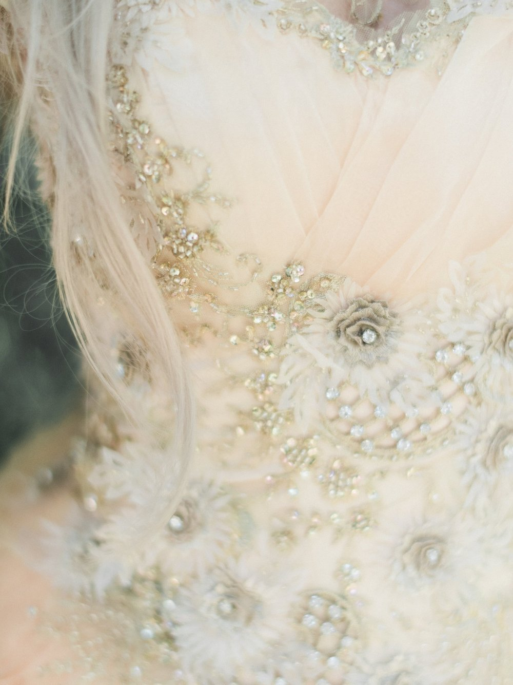 Champagne Peach Fantasy Bridal Gown
