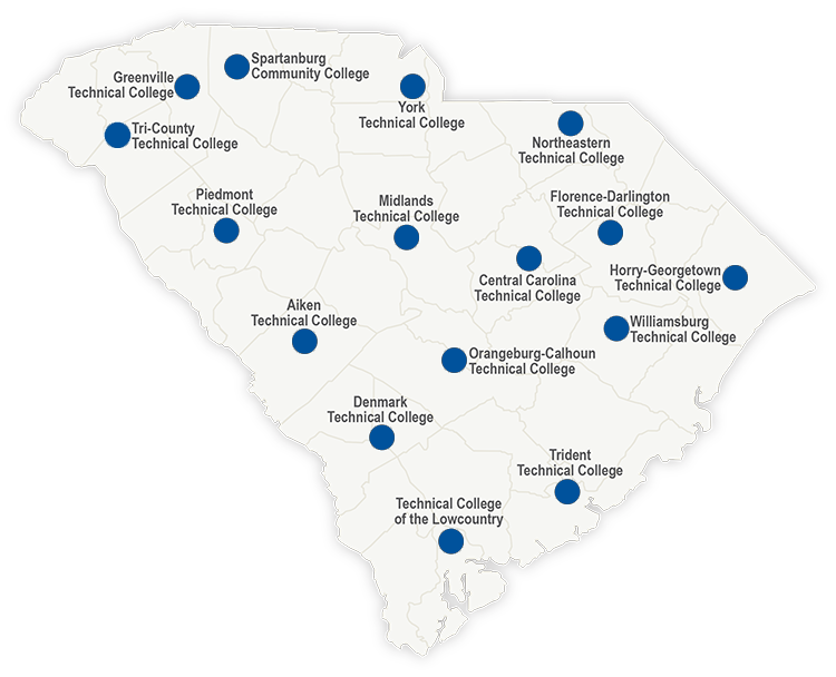 SC Technical College System Map