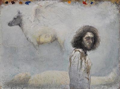 Selvportræt med pegasus og mumie. 1986. Olie på papir, klæbet på lærred.  The Schroeder Collection. NY