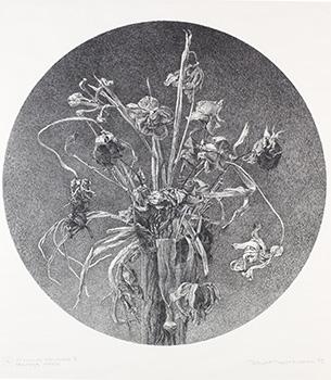 Bendt Thoft Nielsen: Visnende blomster II. Stentryk. 1975