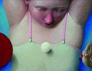 Peter van Poppel. Barberet bordtennis. Tempera/alkyd på plade. 2004