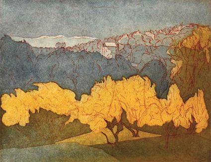 Johanne Foss: Blomstrende nøddebuske. Regn. Italien, 2011. Ætsning og akvatinte