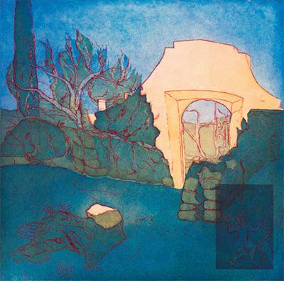 Johanne Foss: Ved stenporten. Danser med trane, mørk. Italien, 2013. Ætsning og akvatinte