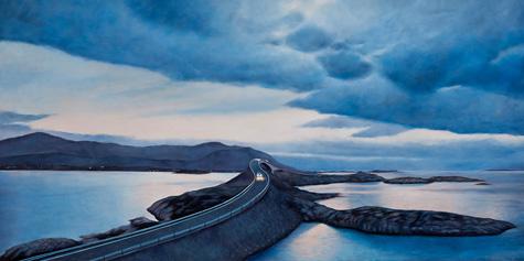 Route Atlantic Blue. Olie på lærred. 100x200 cm. 2011
