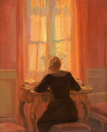 Anna Ancher: Helga ved bord (ca. 1900)