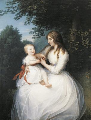 Erik Pauelsen: Friederike Brun med datteren Charlotte på skødet, 1789