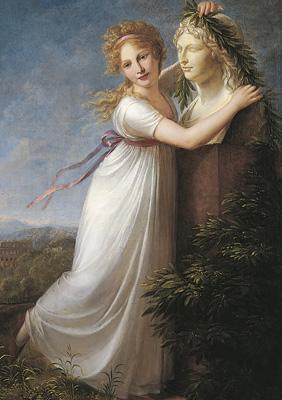 P.E. Hetch: Ida Brun bekranser sin moders buste, 1803