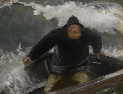 Michael Ancher: Igennem brændingen. Ca. 1880