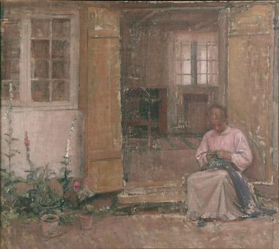 Marie foran huset Valdal, 1910. Faaborg Museum