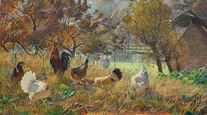 Elise Konstantin-Hansen: Hønsene på morgenudflugt (1898)
